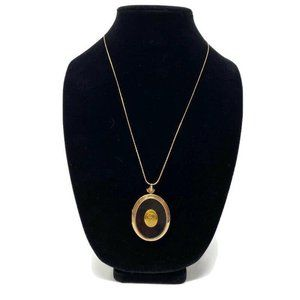 Vintage 14″ Gold Toned & Black Monogrammed Locket